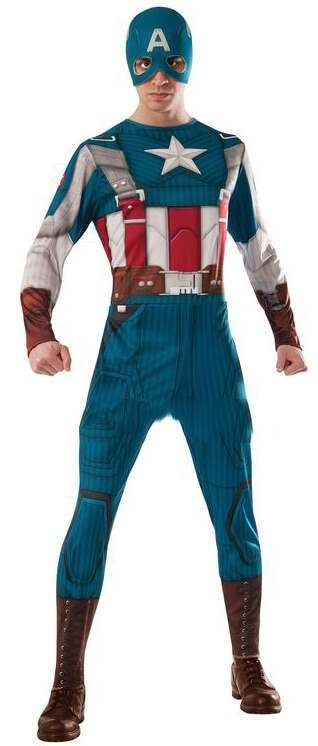 Men'S Classic Captain America Superhero Fancy Dress Costume