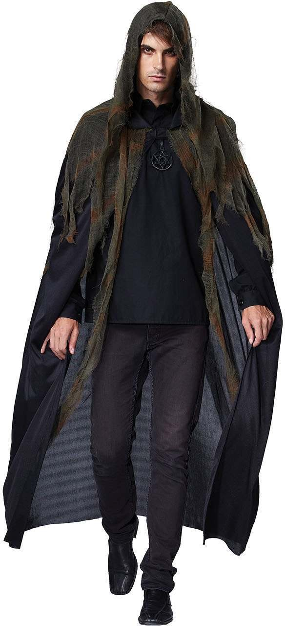 Mens Black (Grim Reaper Hooded Cape) Fancy Dress Costume