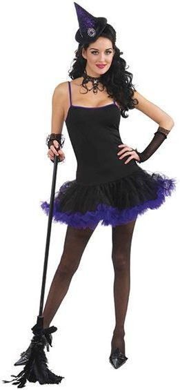 Witch Petticoat Dress. Black/Purple Fancy Dress Costume