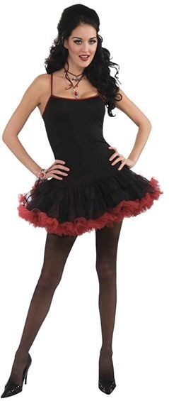 Vampiress Petticoat Dress. Black/Burgundy Fancy Dress Costume