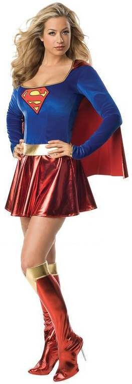 Ladies Deluxe Super Girl Superhero Fancy Dress Costume