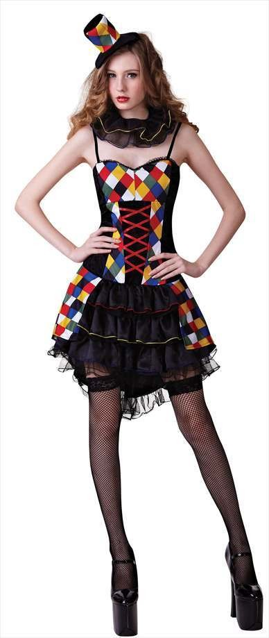 Ladies Checkered Sexy Circus Clown/Jester Fancy Dress Costume