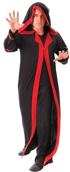 Hooded Black Robe With Red Trim (Halloween Fancy Dress)