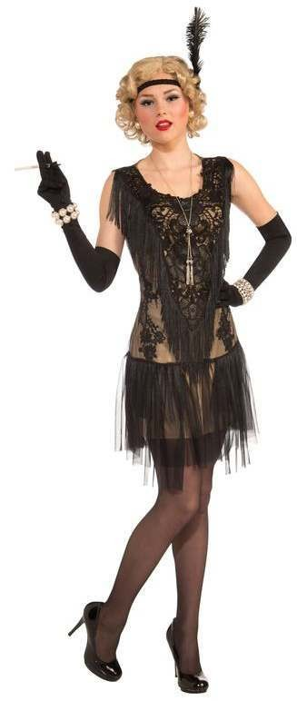 Ladies Deluxe Black Roaring 20'S Lacy Flapper Fancy Dress Costume