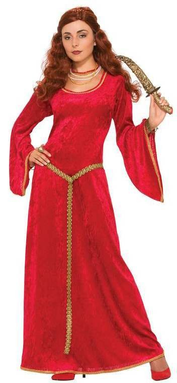 Ladies Ruby Sorceress/Red Woman Medieval Fancy Dress Costume