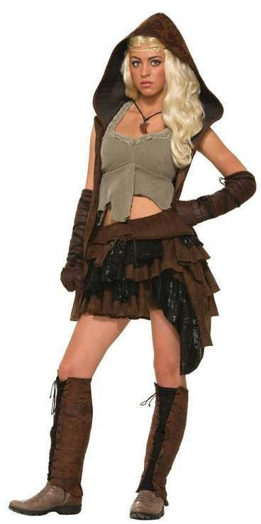 Ladies Medieval Rouge Dragon Warrior Fancy Dress Costume