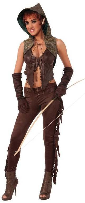 Ladies Medieval Fantasy Elf Hunter Fancy Dress Costume