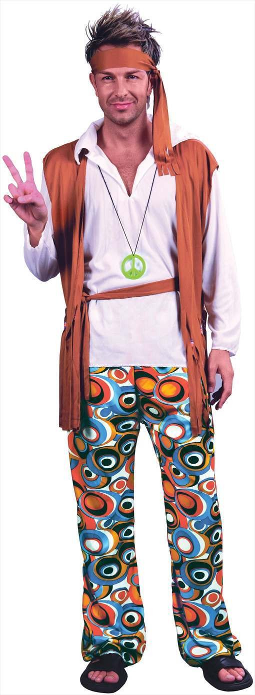 Mens 60'S Peace Hippy Man Fancy Dress Costume