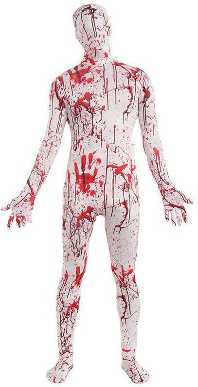 Mens White Bloody Suit Disappearing Man Halloween Costume
