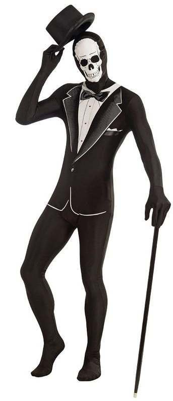 Mens Tuxedo Skeleton Disappearing Man Halloween Body Suit Costume