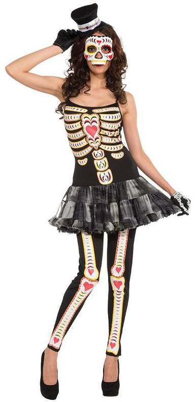 Ladies Dead Sexy Day Of The Dead Tutu Halloween Fancy Dress Costume