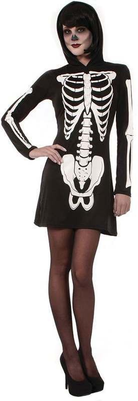 Ladies Skeleton Hooded Mini Dress Halloween Fancy Dress Costume
