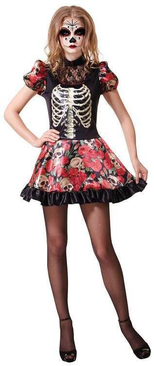 Ladies Mexican Day Of The Dead Doll Halloween Fancy Dress Costume