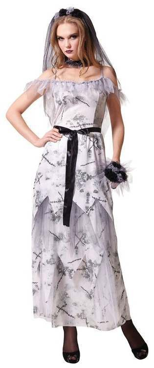 a4e38714bd2 Ladies White Deathly Gothic Zombie Corpse Bride Halloween Fancy Dress  Costume