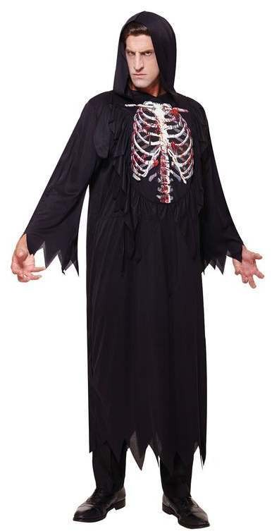 Mens Dark Skeleton Reaper Halloween Fancy Dress Costume