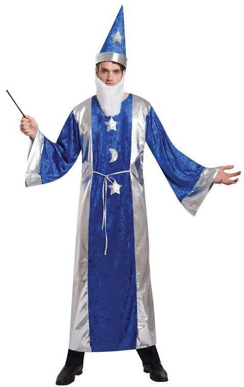 Mens Magicians Robe And Hat Halloween Fancy Dress Costume