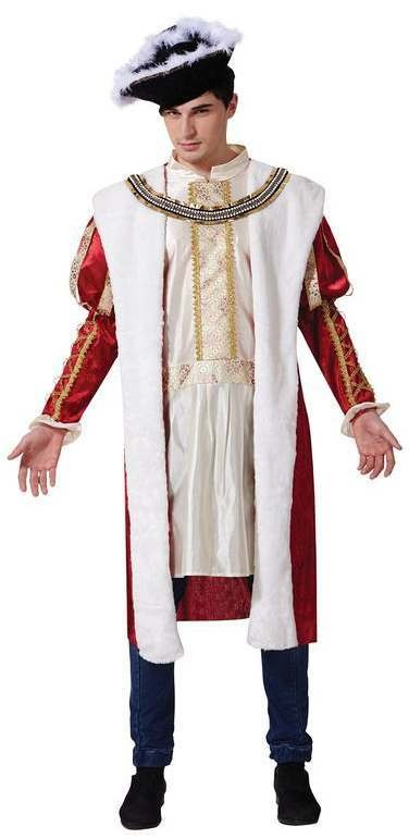 Mens Red/White English Royal King Fancy Dress Costume
