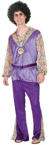 Hippie Man Purple, Velvet Fancy Dress Costume