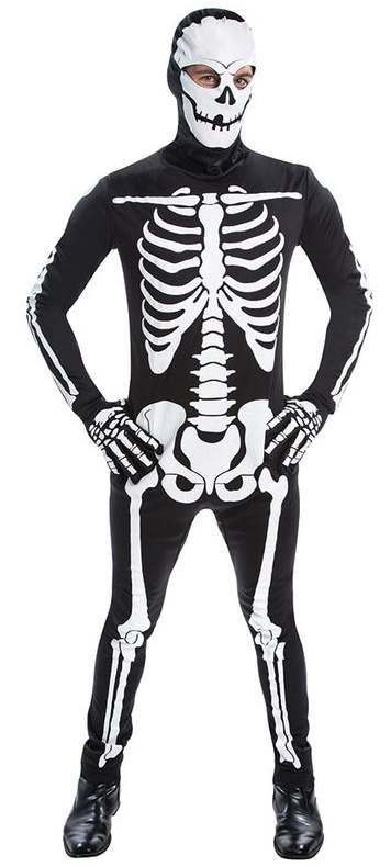 Mens Skeleton All In One Jumpsuit Halloween Fancy Dress Costume