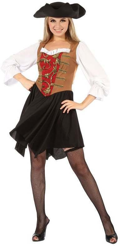 Ladies Brown/Red High Seas Pirate Fancy Dress Costume
