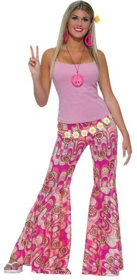 Flower Power Bell Bottom Trousers (1960S , 1970S Fancy Dress)