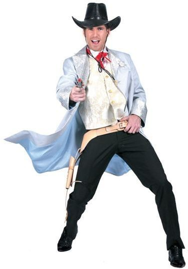 Cowboy Long Coat. Light Blue Fancy Dress Costume