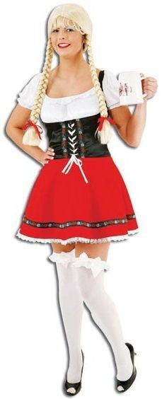 Sexy Dirndl (German Dress) Rd/Blk 38/40 Fancy Dress Costume