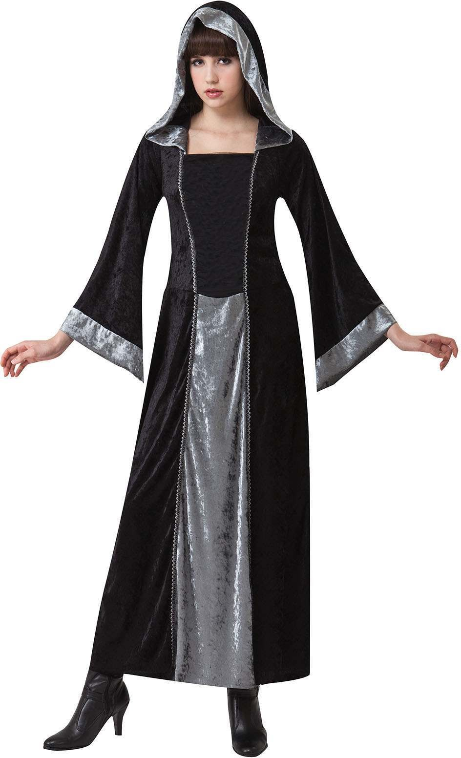 Ladies Black (Gothic Hooded Velvet Cloak) Fancy Dress Costume