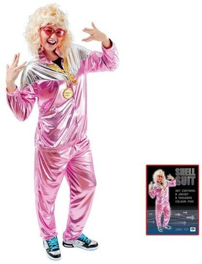 Shell Suit. Ladies Pink Fancy Dress Costume
