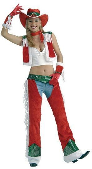 Christmas Cowgirl Fancy Dress Costume