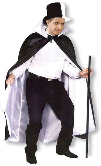 Phantom Cape. Reversible Black/White (Halloween Fancy Dress)