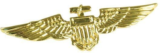 Aviator Pin. Metal / Gold Colour (Army , Pilot/Air Fancy Dress Jewellery)