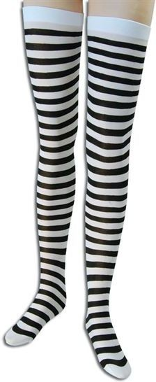 Striped Stockings. Black/White (Cops/Robbers , Sexy Fancy Dress Tights)