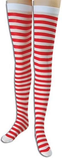 Striped Stockings. Red/White (Sexy Fancy Dress Tights)