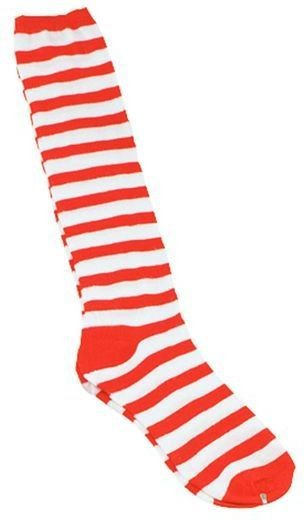 Clown Socks. Red/White Stripe (Clowns Fancy Dress Tights)