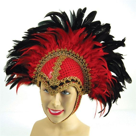 Feather Helmet Red Braiding/Plume (Cultures , Burlesque Fancy Dress Hats)