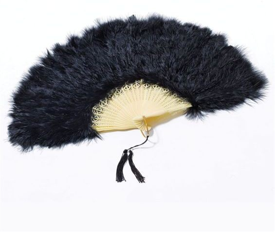 Feather Fan. Black (1920S , Burlesque Fancy Dress Feather Boas)