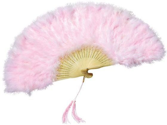 Feather Fan. Pink (1920S , Burlesque Fancy Dress Feather Boas)