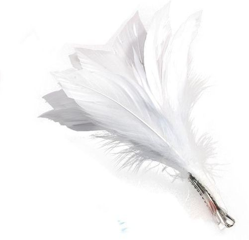 Feather Hair Clip. White (1920S , Burlesque Fancy Dress)