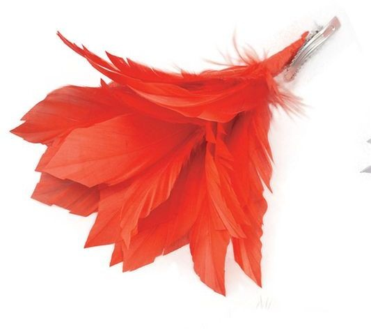 Feather Hair Clip. Red (1920S , Burlesque Fancy Dress)