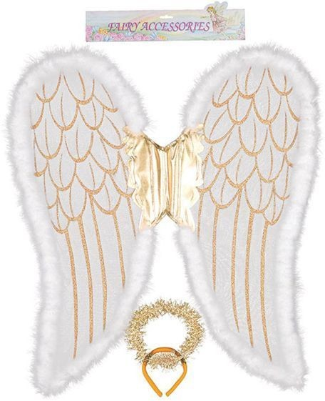 Angel Wings. Jumbo, White/Gold (Christmas Disguises)