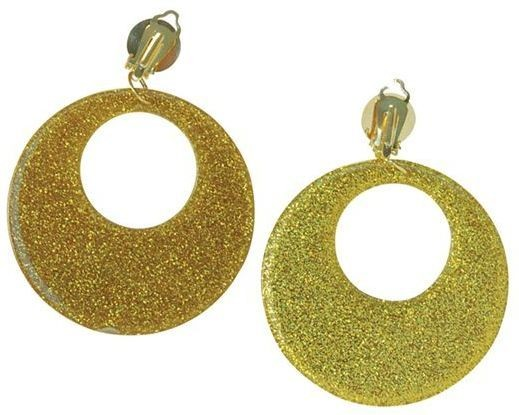 Gold Mod Glitter Ear Rings (1960S , 1970S Fancy Dress Jewellery)