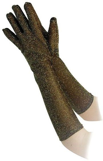 "Glitter Gloves 16"". Gold (Halloween , 1980S Gloves)"