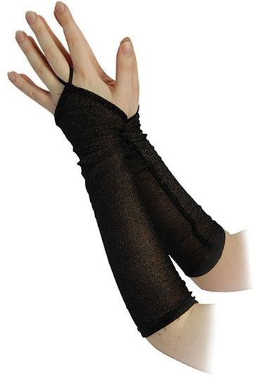 "Fingerless Glitter Gloves 14"" Black (1980S , Halloween Gloves)"