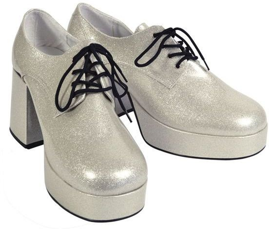 Platform Mens Silver Shoes (Fancy Dress Shoes)