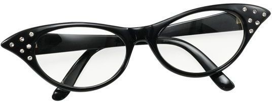 Glasses. 50'S Female Style Black (1950S Fancy Dress Glasses)