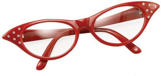 Glasses. 50'S Female Style Red (1950S Fancy Dress Glasses)