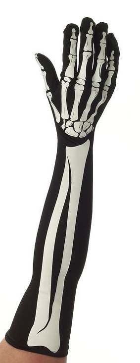 Ladies Long Sleve Skeleton Gloves Halloween Fancy Dress Accessory