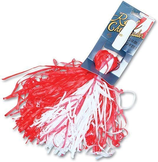 Pom Poms. Red/White (School Fancy Dress)