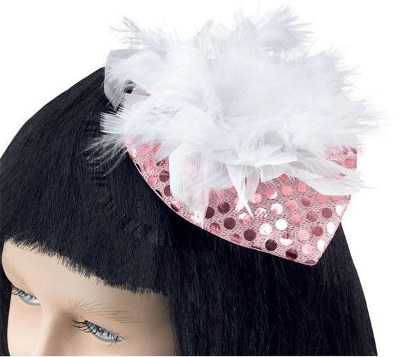Lady'S Hat Pink Sequin & Feather (1920S , Burlesque Fancy Dress Hats)